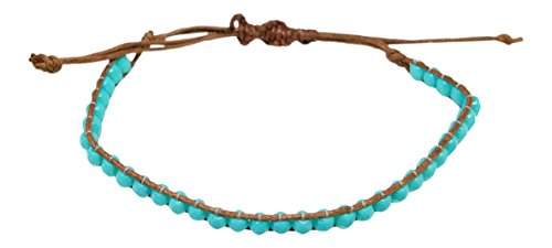 (Boho Beach Anklet Ankle Bracelet - Beaded Drawstring Single Wrap - Turquoise Color Beads - Adjustable Macrame, 6 to 10 Inches)