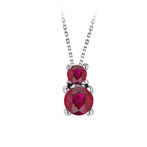 0.25 Carat (ctw) 10K White Gold Real Natural Round Cut Red Ruby Pendant Necklace Free Silver (0.25 Ct Ruby Pendant)