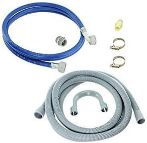 Spares2go Universal tubo de llenado de agua y drenaje Kit de extensión de manguera para lavadora (2,5m)