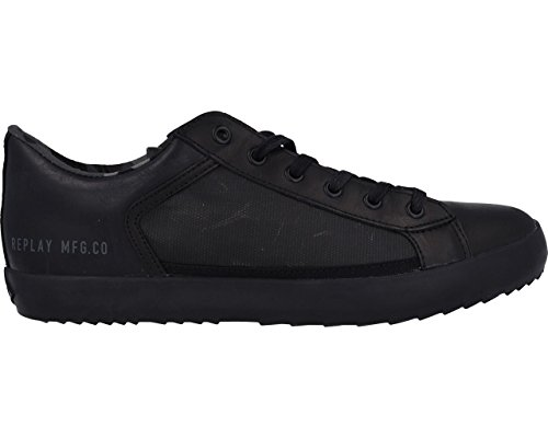 sports shoes 89678 abbc2 REPLAY Glem Mens Sneakers Trainers Black: Amazon.co.uk ...
