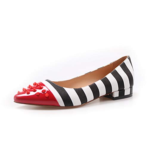 (wetkiss Rivets Pointed Toe Flats Shoes Women Low Heel Pumps Studded Zebra Pattern Slip on)