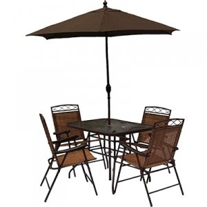 Table and chairs with umbrella 6 pc patio set home for Deck table and chair sets