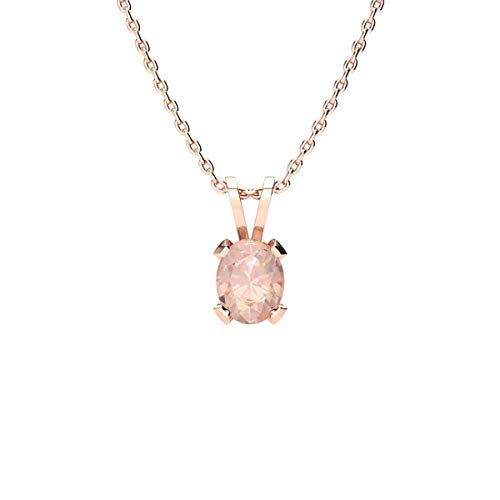 Sparkle Bargains Oval Shape Morganite Necklace - 0.60cttw | Available in Yellow Gold, Rose Gold and Sterling Silver