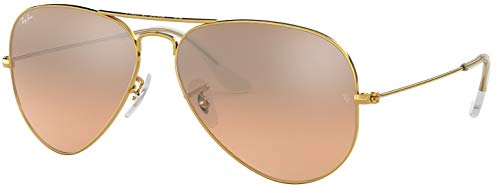 Ray-Ban RB3025 001/3E Gold Frame / Brown-Pink Silver Flash Lens - Ban Ray Frame Brown