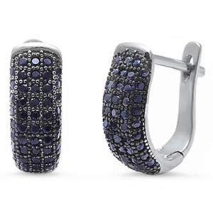 Pave Black Onyx 925 Sterling Silver Earring - Jewelry Accessories Key Chain Bracelet Necklace Pendants
