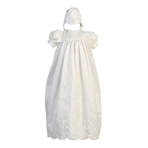 Lito Baby Girls White Embroidered Shantung Christening Bonnet Long Gown 9-12M