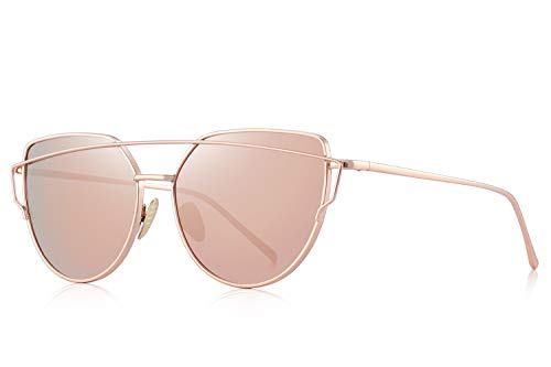 MERRY'S Fashion Women Cateye Sunglasses UV Protection eye glasses Coating Mirror Flat Panel Lens UV400 S7882 (Pink, ()