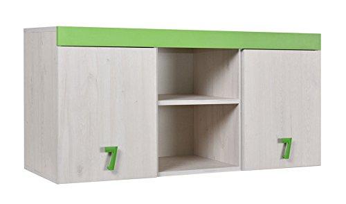Kinderzimmer - Hängeschrank Luis 15, Farbe: Eiche Weiß/Grün - 58 x 120 x 42 cm (H x B x T)