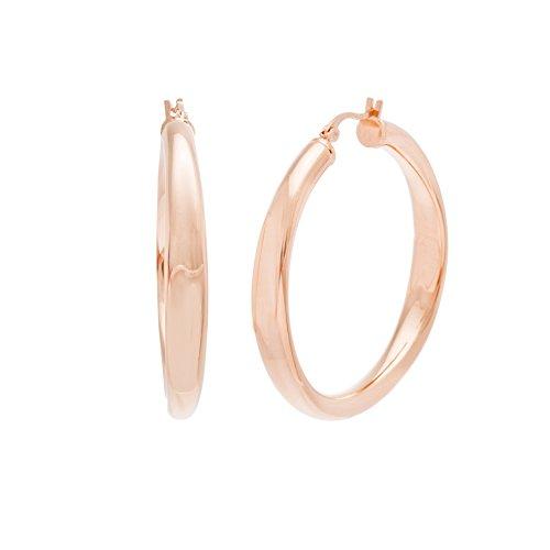 Rose Gold Tone Stainless Steel French Lock 43mm Hoop (Michele Vintage Earrings)