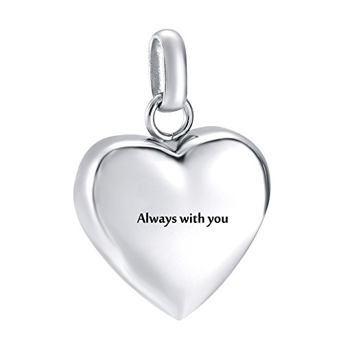 Engravable Heart - High Polish Engravable Blank Love Heart Pendant Stainless Steel Ashes Keepsake Urn Necklace for Ashes Cremation Jewelry (Always with you)