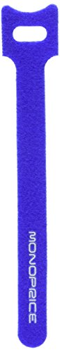 Monoprice Hook & Loop Fastening Cable Ties 6inch, 100pcs/Pack - Blue