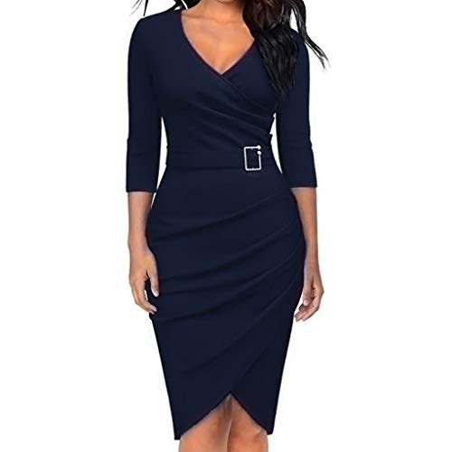 FEITONG Women's Sexy Solid Color V-Neck Long Sleeve Hem Party Skinny Dress(Small,Dark Blue) -