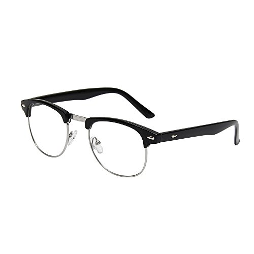(Shiratori New Vintage Classic Half Frame Semi-Rimless Wayfarer Clear Lens Glasses black)