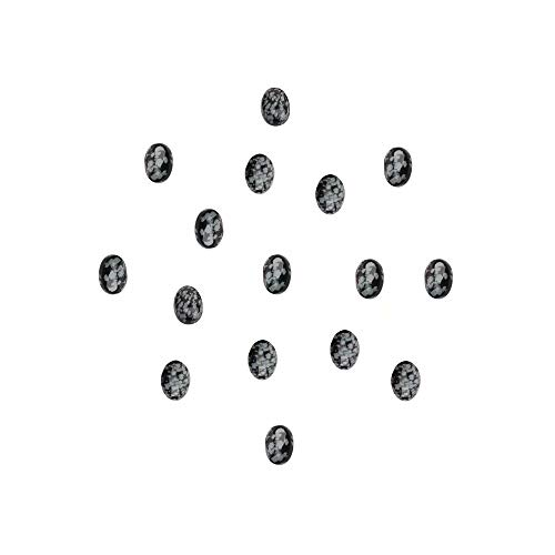 Oval Stone Cabochons for Pendant Making Natural Black Snowflake Obsidian 810mm Flat Back Oval Cabochon Sold by 16 Pcs (No Hole)