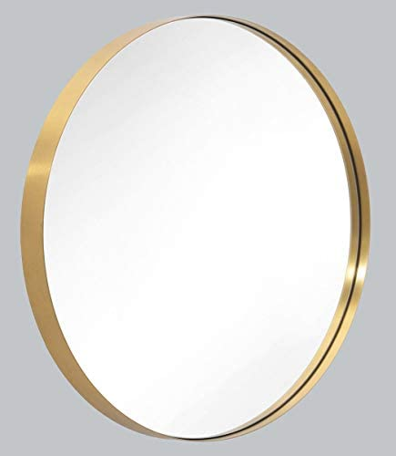 Wall Mirror 30 Brushed Gold Round Metal Stainless Steel Circle Frame for Bathroom, Entryways, Washrooms, Living Rooms, Doubles as Modern Wall Art