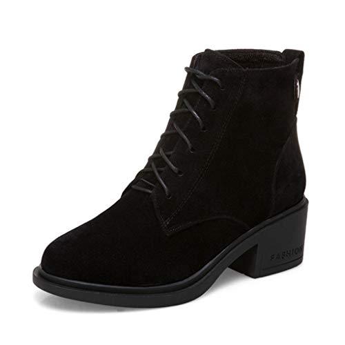 GIY Women's Round Toe Block Heel Ankle Booties Suede Velvet Lace-up Slip On Platform Dress Short Booties Black