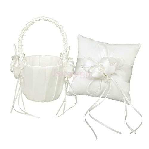 BROSCO Wedding Ivory Satin Pearl Beaded Ring Bearer Pillow Cushion Flower -