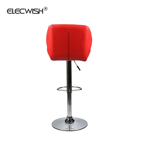 Elecwish Bar Stools Set of 2 White PU Leather Seat with Chrome Base Swivel Dining Chair Barstools (Red 2pcs) by Elecwish (Image #9)