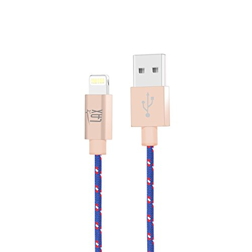LAX Gadgets Extra Long 2in1 Apple MFi Certified Nylon Lightning Cable Cord | 6 Ft - Blue/Red by LAX Gadgets