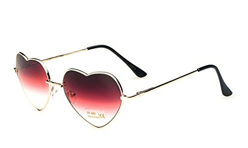 Chezi Women's Metal Colorful Gradient Lens Heart Sunglasses (gold, red - Wire Frame Sunglasses Heart