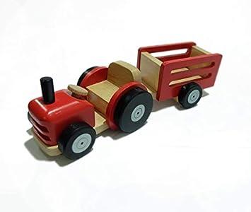 Traktor mit Anh/änger 90 x 130 x 67 mm 90 x 130 x 74 mm Tano Holzspielzeug f/ür Kinder ab 3 Jahre