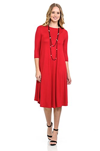 Mod Maxi - iconic luxe Women's A-Line Swing Trapeze Midi Dress Large Red