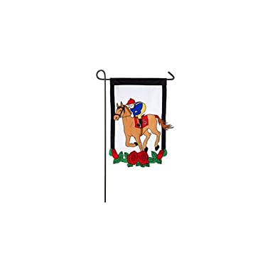 "Evergreen Beautifully Vibrant Kentucky Derby Double-Sided Appliqué Garden Flag - 12.5""W x 18  H"