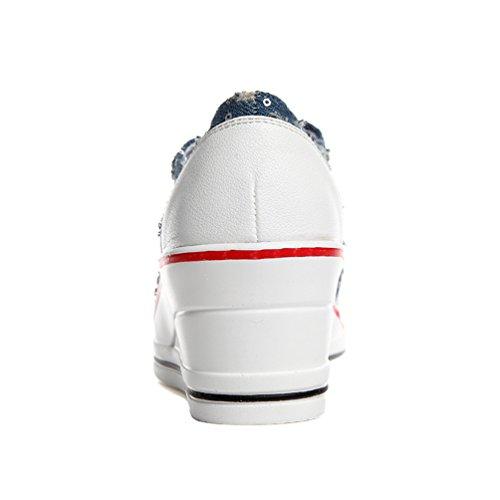 Femme Toile 35 Sneakers Style Tennis Compensé Baskets Mode de de JRenok 43 Décontractée Cow Montante Chaussures Boy zExwZqzCI
