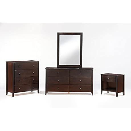 Night Day Furniture Zest 6 Drawer Chocolate Dresser With Mirror