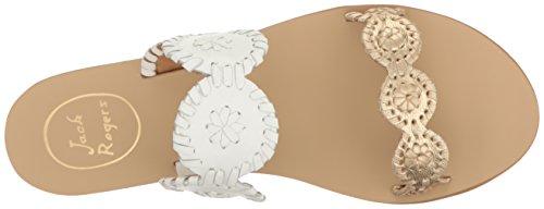 Skinn Hvit Jack Kvinners Colorblocked Sandal Gull Lauren Rogers Kjole wwBqSp