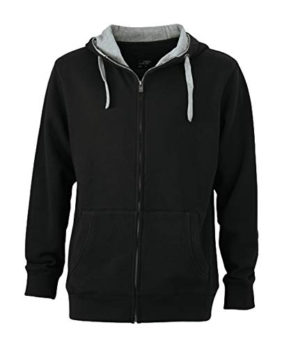 hoody grey Felpa Zip heather Men's E Cappuccio Zip In Giacca Black Lifestyle R6w5g