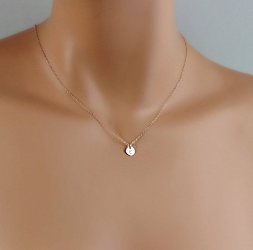 Tiny Rose Gold Initial Necklace, Dainty Monogram Charm Trendy Jewelry, Bridesmaid Gifts, Flower Girl, Personalized Minimalist Necklace ()