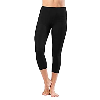 "Yogalicious 22"" High Waist Yoga Capris - Yoga Leggings - Yoga Capris for Women - Black - Medium"