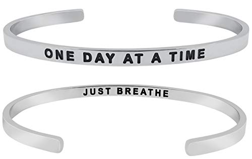 (''One Day at A Time, Just Breathe'' Inspirational Quote Motivational Positive Message Mantra Cuff Bangle Bracelet, Jewelry Gifts w/Sayings & Words for Graduation, Divorce, Sympathy, Women)