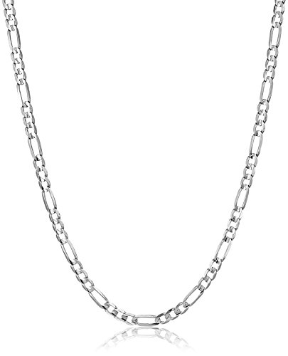 "Men's 14k White Gold 3.8mm Figaro Chain Necklace, 20"""