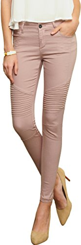 (Trend Director Women's Mid Rise Soft Cotton Stretch Skinny Fitted Pants in White & Pink (11, Pink))