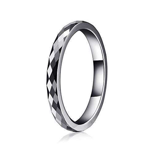 AW 2mm White Tungsten Wedding Band Ring Men Women Multi Faceted Comfort Fit Silver Engagement Ring Size 6.5