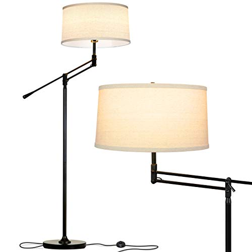 Brightech Ava LED Floor Lamp for Living Rooms - Standing Pole Light with Adjustable Arm - Office and Bedroom, Bright Reading Lamp with Drum Shade - Black Arm Led Floor Lamp