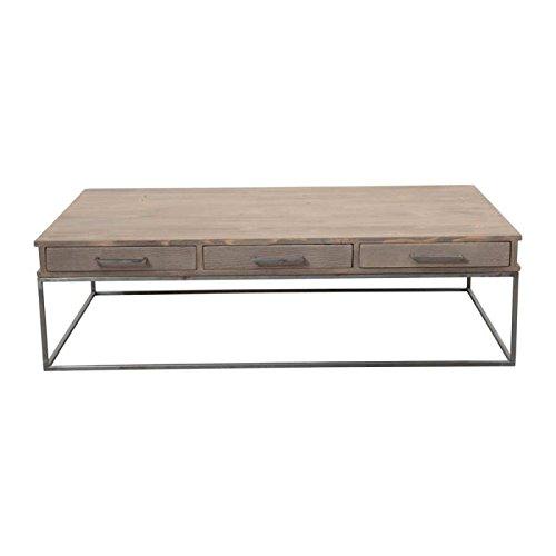 couchtisch 3 schubladen loft holz und metall 140 x 80 x 40 cm natur seite tisch jetzt kaufen. Black Bedroom Furniture Sets. Home Design Ideas