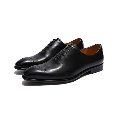 Mens Dress Shoes Oxfords Genuine Leather Black Pointed Toe Lace up Formal Classic Men's Wedding Party Shoes -