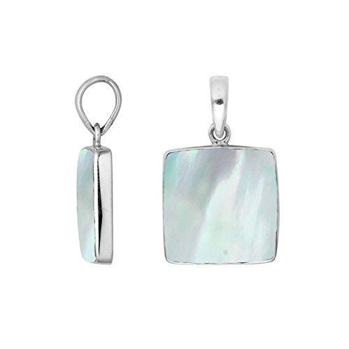 - Bali Designs Sterling Silver Square Shape Pendant with Mother of Pearl AP-6222-MOP