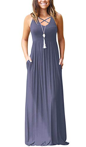 Women's Sleeveless Racerback Maxi Dresses with Pockets Criss Cross Plain Loose Long Dresses Purple Gray Large