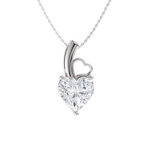 Diamondere Natural and Certified Heart Cut White Topaz Solitaire Petite Necklace in 14k White Gold | 0.42 Carat Pendant with Chain
