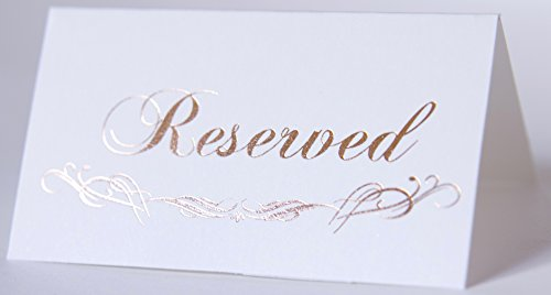 Table Tent Reserved, Cards Reserved, 20-Pack Rose Gold Foil, Double Sides, Print Party Hearts Collection (Rose Gold Place Card Reserved) ()