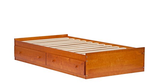 "Palace Imports 2434 100% Solid Wood Kansas Mate's Platform Storage Bed Only Color, 15""H x 42""W x 76""L, 12 Slats, 2 Drawers Included. Optional Bookcase Headboard, Rail Guard Sold Separately. Requires Assembly, Twin, Honey Pine - Honey Pine Bookcase"