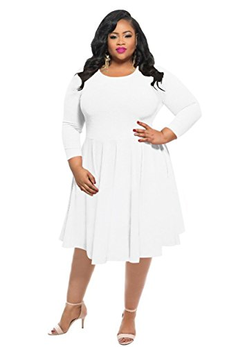 KSHUN Women's New Casual Solid Color Long-Sleeve Round Neck Plus Size Dress White/XXXL by KSHUN
