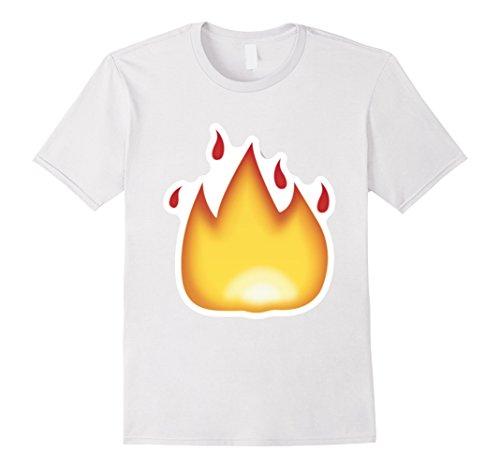 Mens Fire Emoji T-Shirt It's Lit Burning Hot Flame Flaming XL White