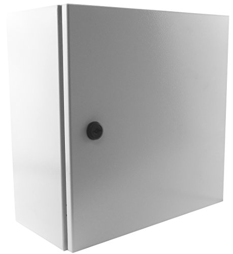 Yuco YC-12X12X8-UL IP66 Enclosure, UL Certified, 16 Gauge, Single Door Hinge Cover Wall-Mount, Standard Gray, Indoor/Outdoor, Backplate, Gland Plate (12 x 12 x 8) (H)12
