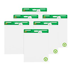 Post-it Super Sticky Easel Pad, 25 x 30 Inches, 30 Sheets/Pad, 6 Pads (559RP-VAD6), Large White Recycled Premium Self Stick Flip Chart Paper, Super Sticking Power