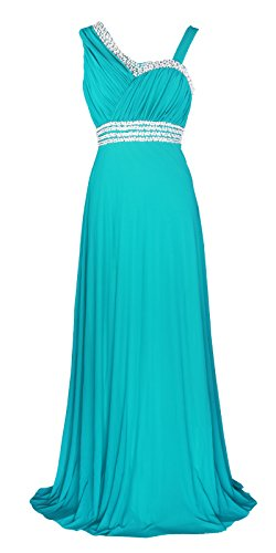 Licoco Women Sleeveless Beaded Semi-Formal Long Maxi Evening Gown Wedding Dress (Turquoise 37, Large)